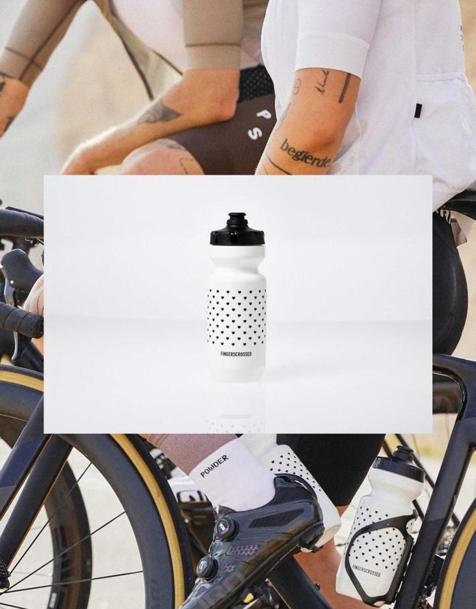 Fingerscrossed Witte fietsbidon met zwarte hartjes