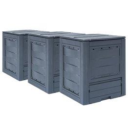 vidaXL Compostbakken 3 st 780 L 60x60x73 cm grijs