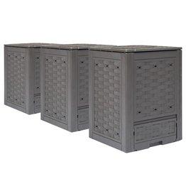 vidaXL Compostbakken 3 st 900 L 60x60x83 cm bruin