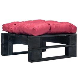 vidaXL Tuinpoef met rood kussen pallet hout zwart