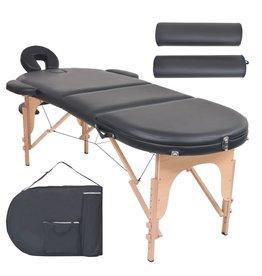 vidaXL Massagetafel inklapbaar 10 cm dik met 2 bolsters ovaal zwart