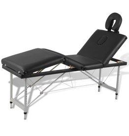 vidaXL Massagetafel inklapbaar met aluminium frame (vier delen / zwart)