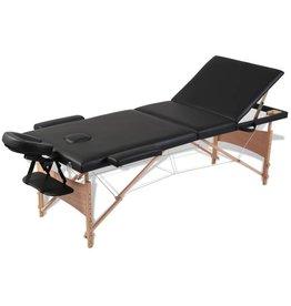 vidaXL Inklapbare massagetafel 3 zones met houten frame (zwart)