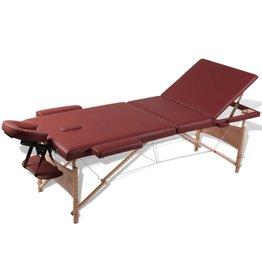 vidaXL Inklapbare massagetafel 3 zones met houten frame (Rood)