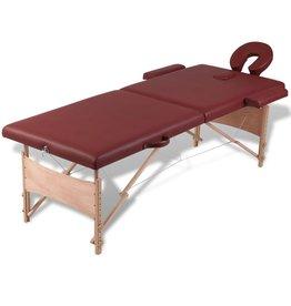 vidaXL Inklapbare massagetafel 2 zones met houten frame (Rood)