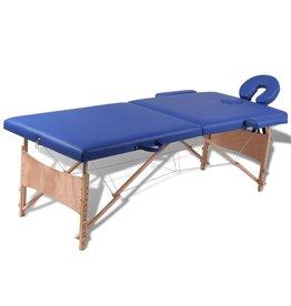 vidaXL Inklapbare massagetafel 2 zones met houten frame (blauw)