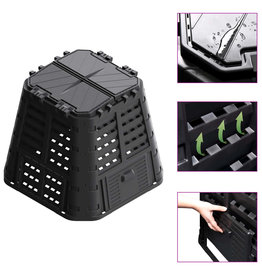 vidaXL Compostbak 420 L 93,3x93,3x80 cm zwart
