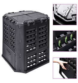 vidaXL Compostbak 360 L 68,9x68,9x83,9 cm zwart