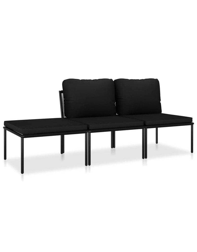 vidaXL 3-delige Loungeset met kussens PVC zwart