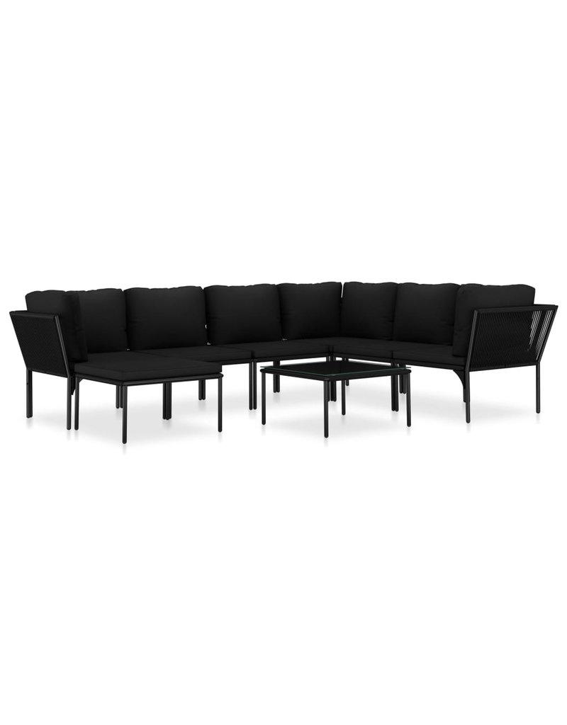 vidaXL 8-delige Loungeset met kussens PVC zwart
