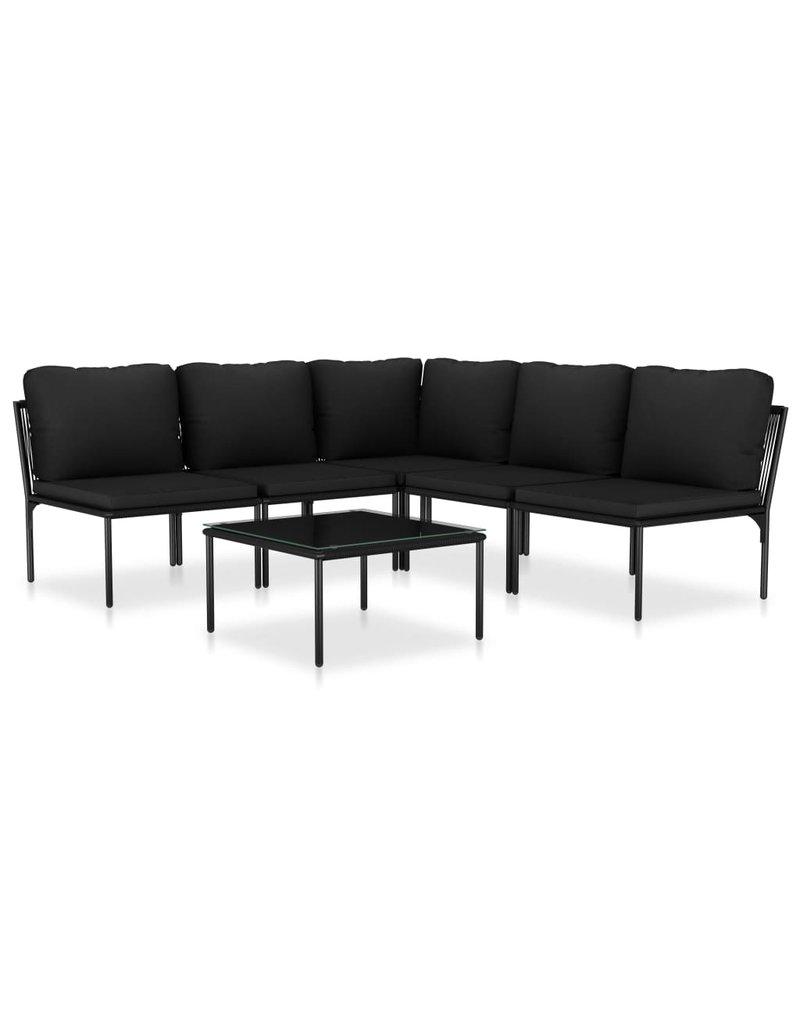 vidaXL 6-delige Loungeset met kussens PVC zwart