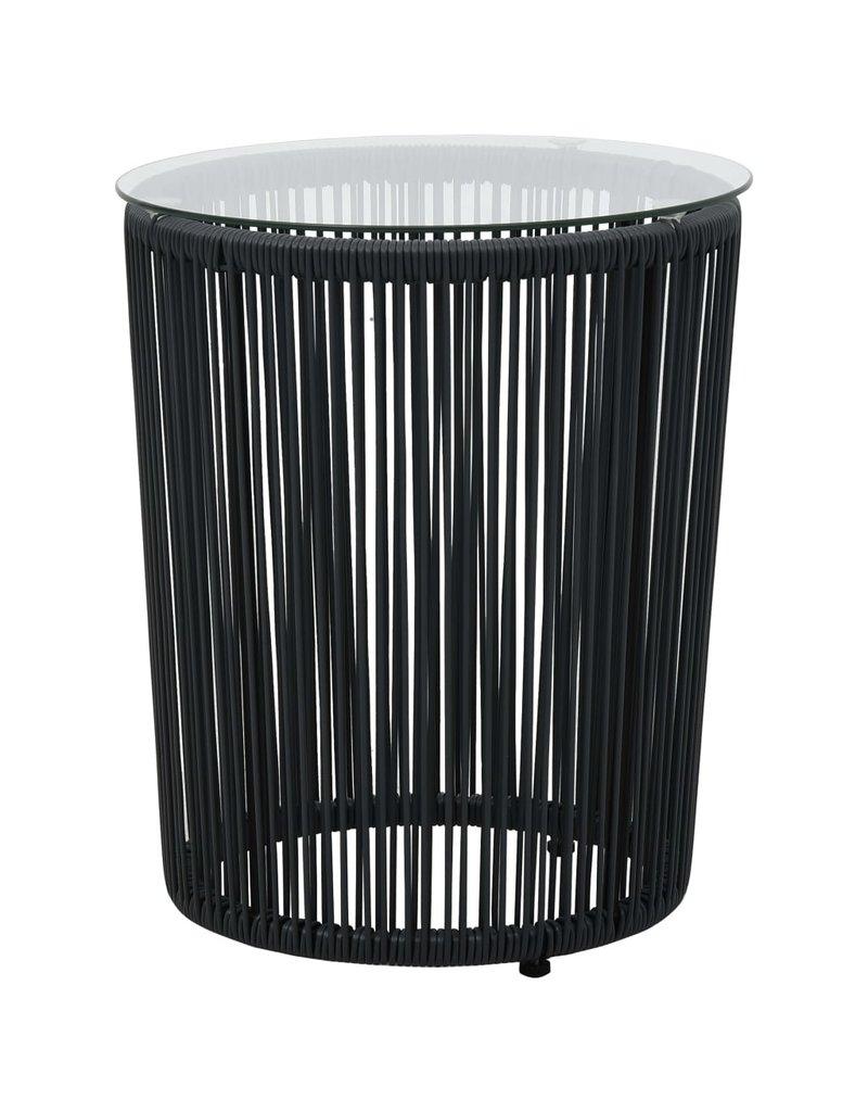 vidaXL 3-delige Bistroset met kussens PVC-rattan zwart
