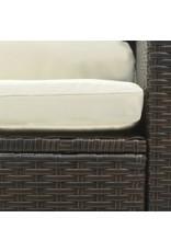 vidaXL 5-delige Loungeset met kussens poly rattan bruin