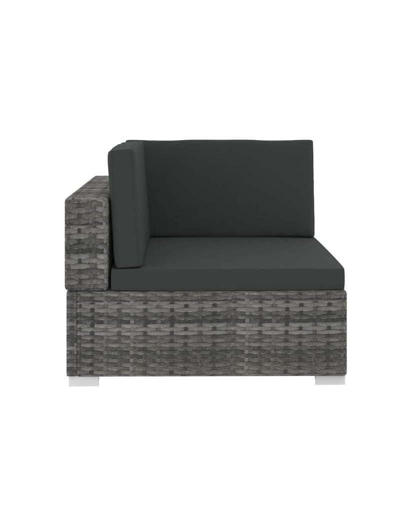 vidaXL 3-delige Loungeset met kussens poly rattan grijs