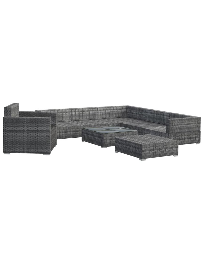vidaXL 8-delige Loungeset met kussens poly rattan grijs