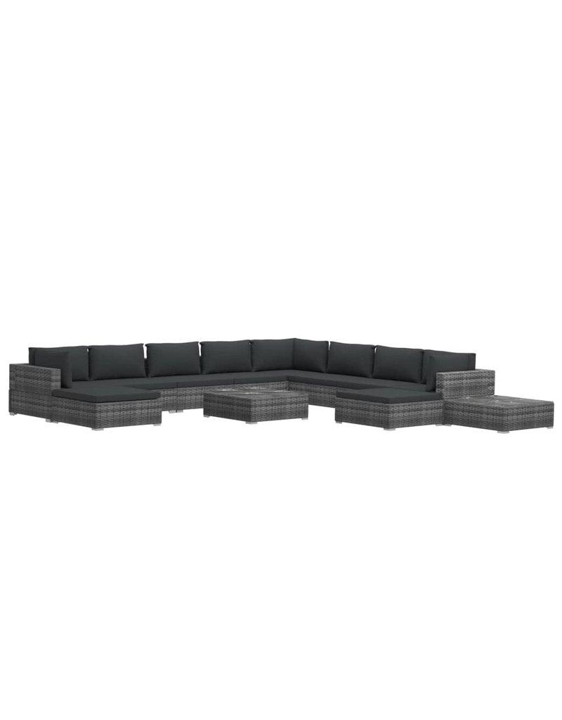 vidaXL 12-delige Loungeset met kussens poly rattan grijs