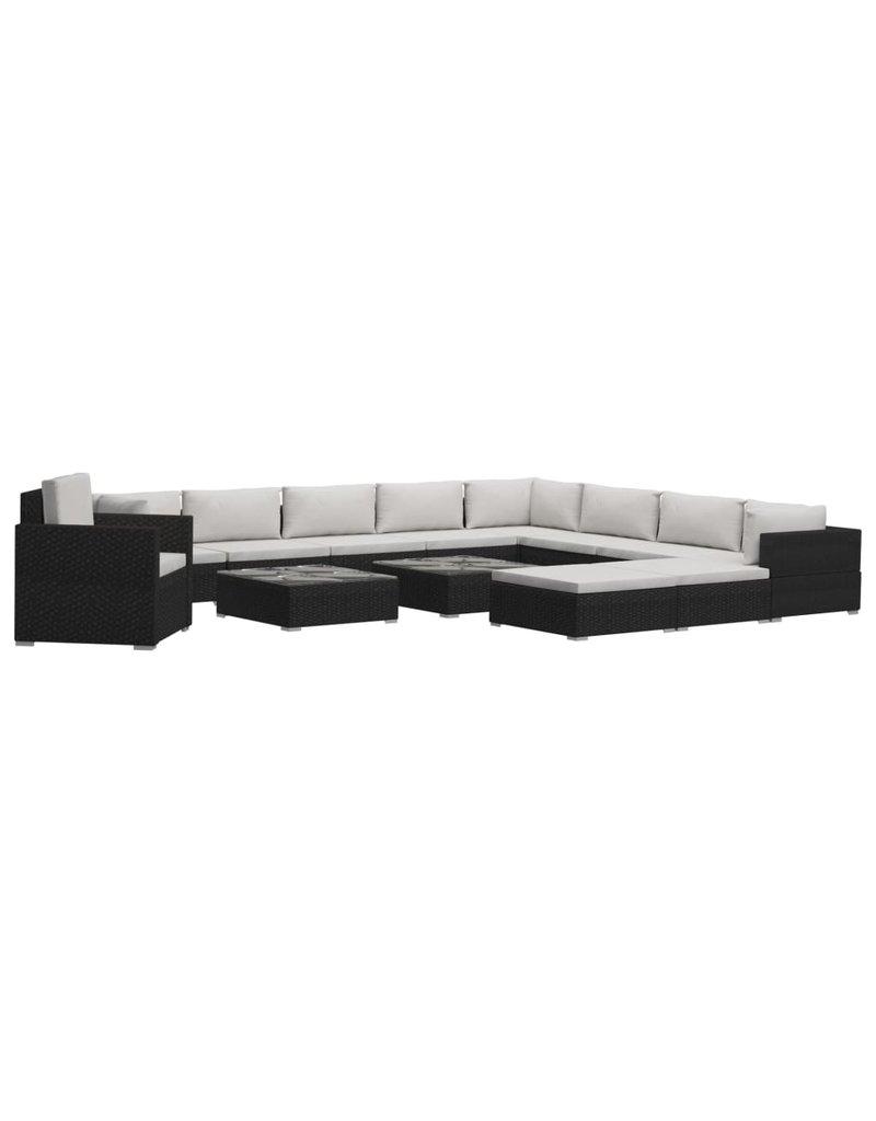 vidaXL 13-delige Loungeset met kussens poly rattan zwart