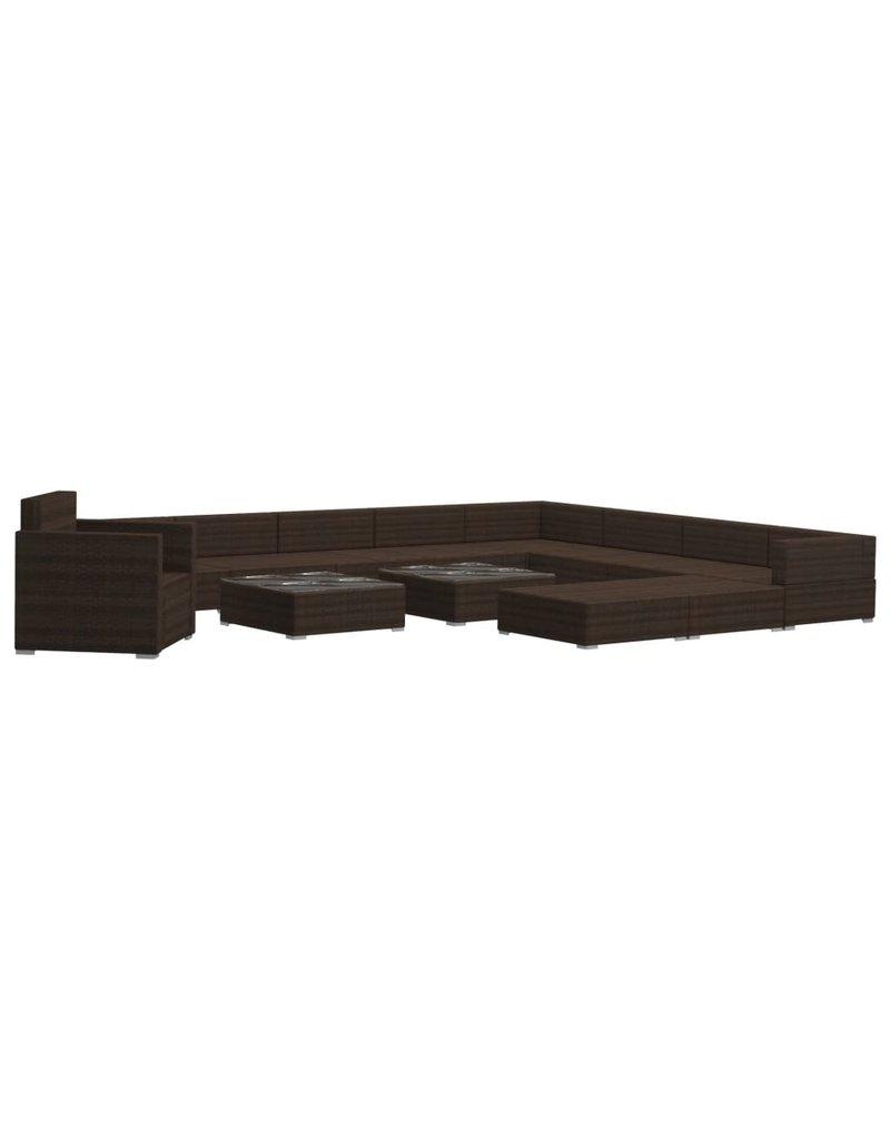 vidaXL 13-delige Loungeset met kussens poly rattan bruin
