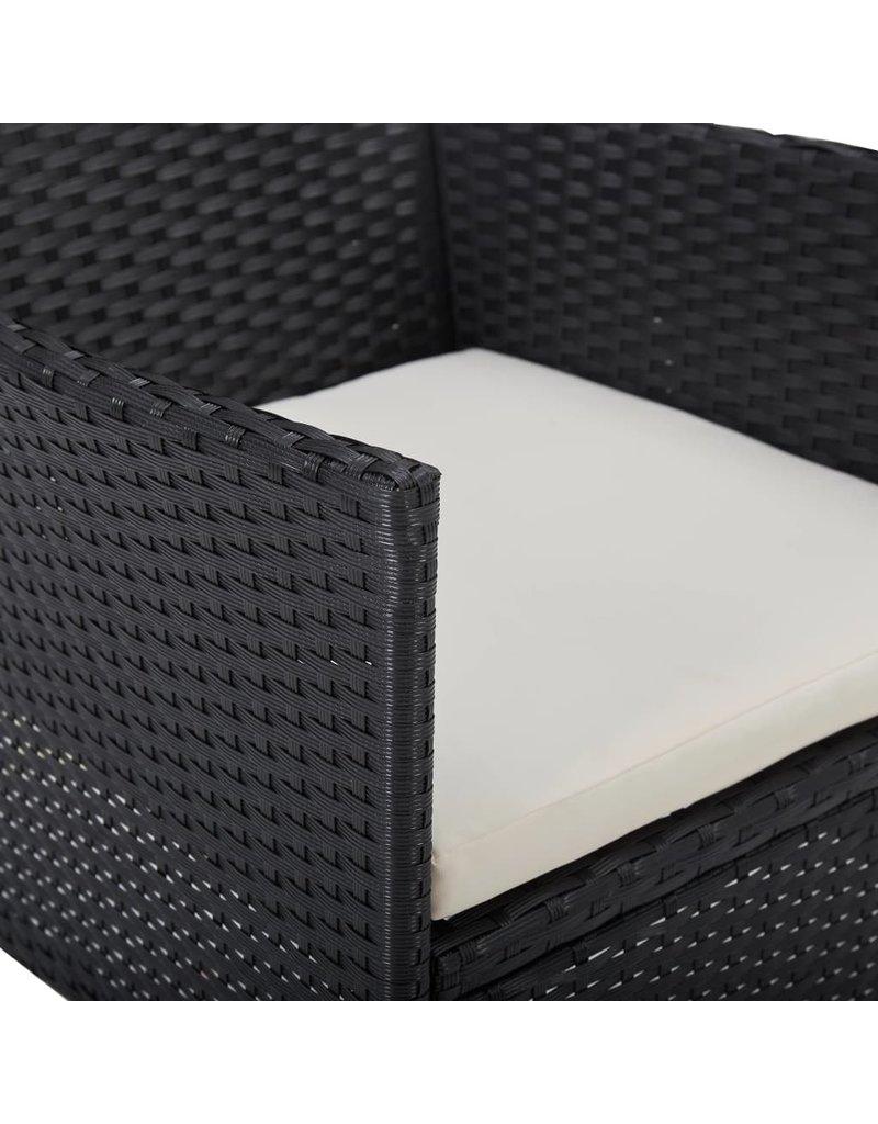 vidaXL 5-delige Tuinset poly rattan en glas zwart