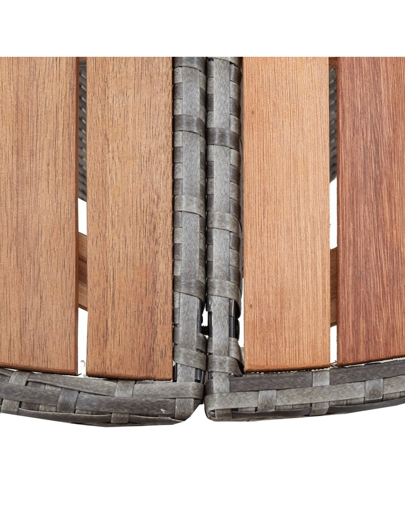 vidaXL 7-delige Tuinset poly rattan acaciahout grijs