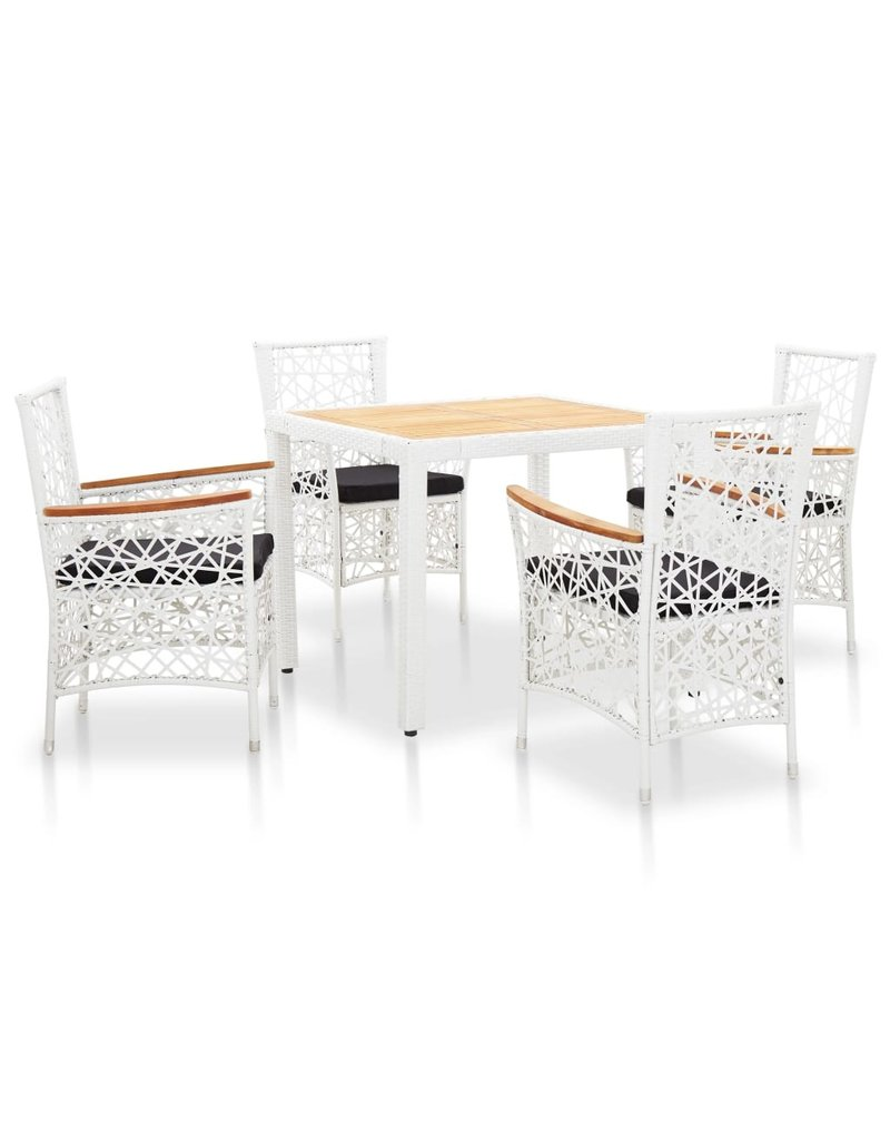 vidaXL 5-delige Tuinset poly rattan wit