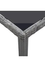 vidaXL 7-delige Tuinset poly rattan grijs