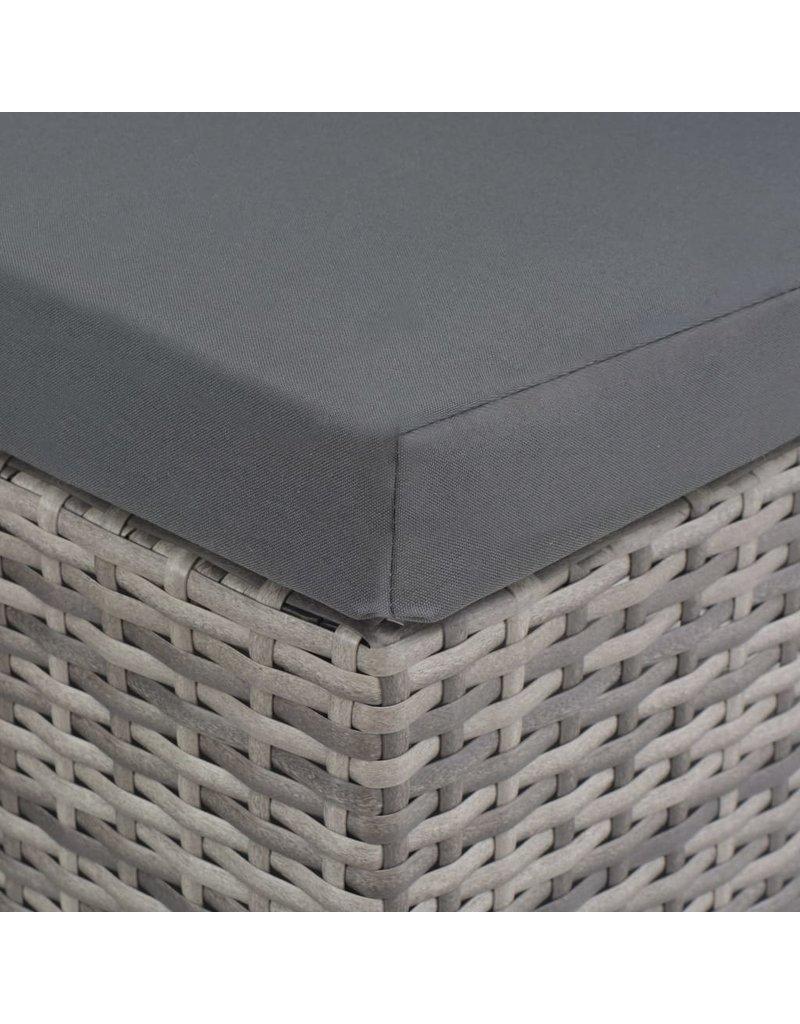 vidaXL 8-delige Tuinset met kussens poly rattan grijs