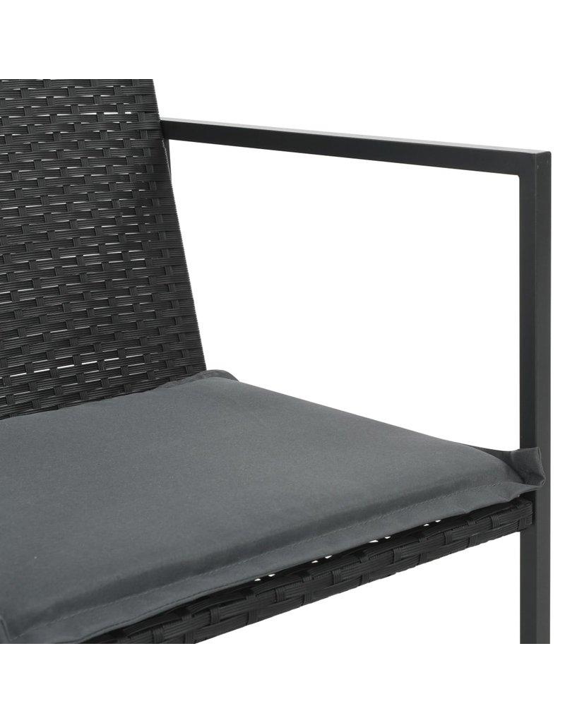 vidaXL 5-delige Tuinset met kussens poly rattan zwart