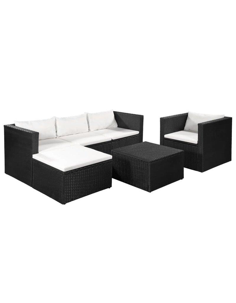 vidaXL 4-delige Loungeset poly rattan zwart en wit