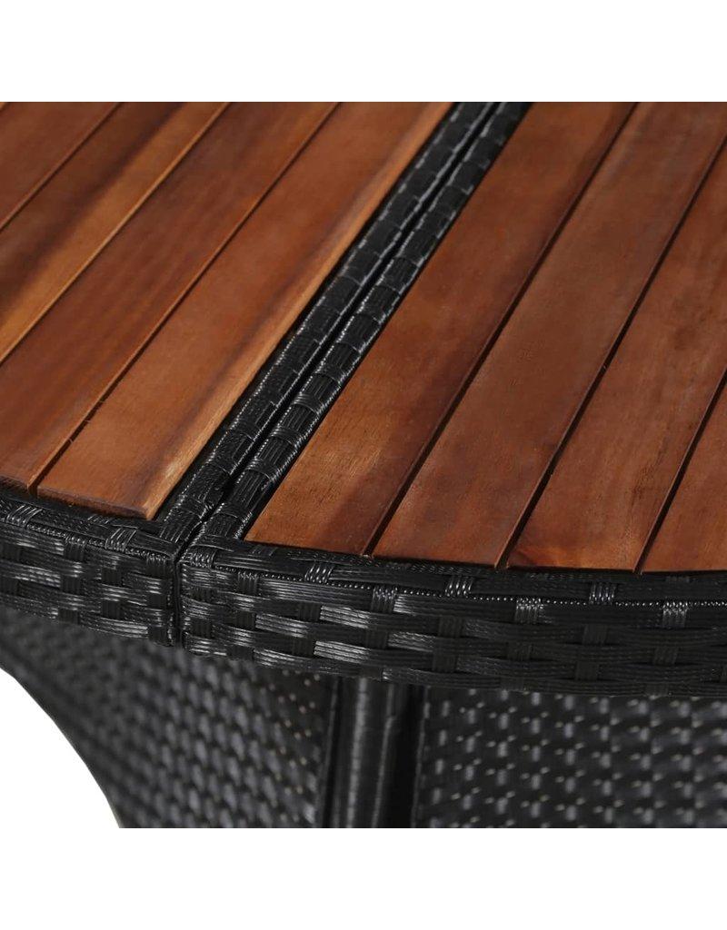vidaXL 7-delige Tuinset poly rattan en acaciahout zwart