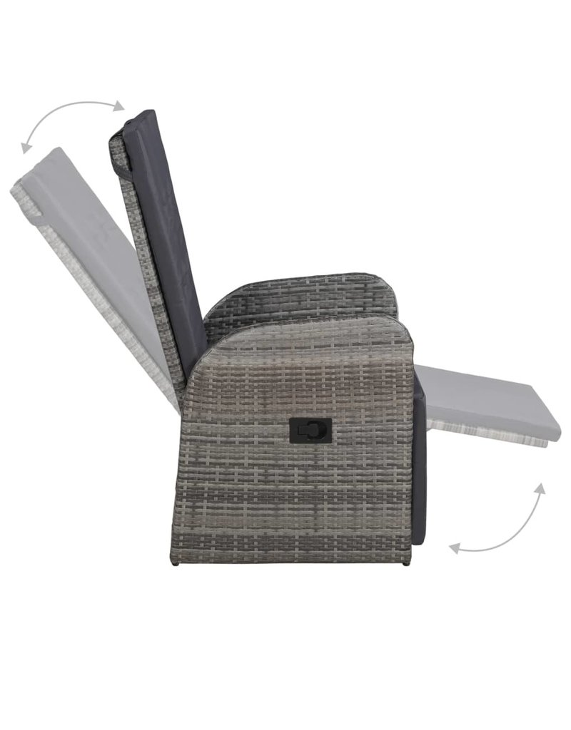 vidaXL 3-delige Bistroset met kussens poly rattan grijs