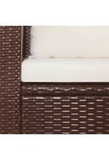 vidaXL 3-delige Bistroset met kussens poly rattan bruin
