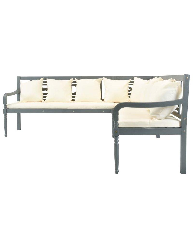 vidaXL 4-delige Loungeset massief acaciahout grijs en wit