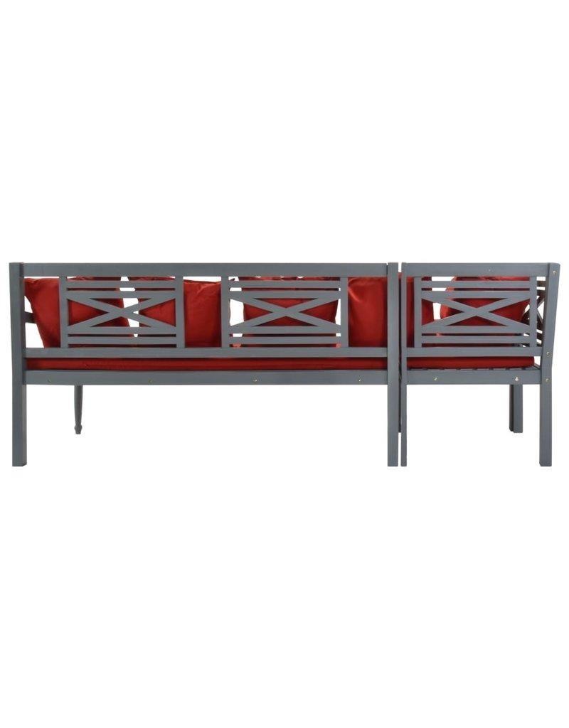 vidaXL 3-delige Loungeset massief acaciahout grijs en rood