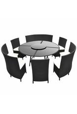 vidaXL 7-delige Tuinset met kussens poly rattan zwart