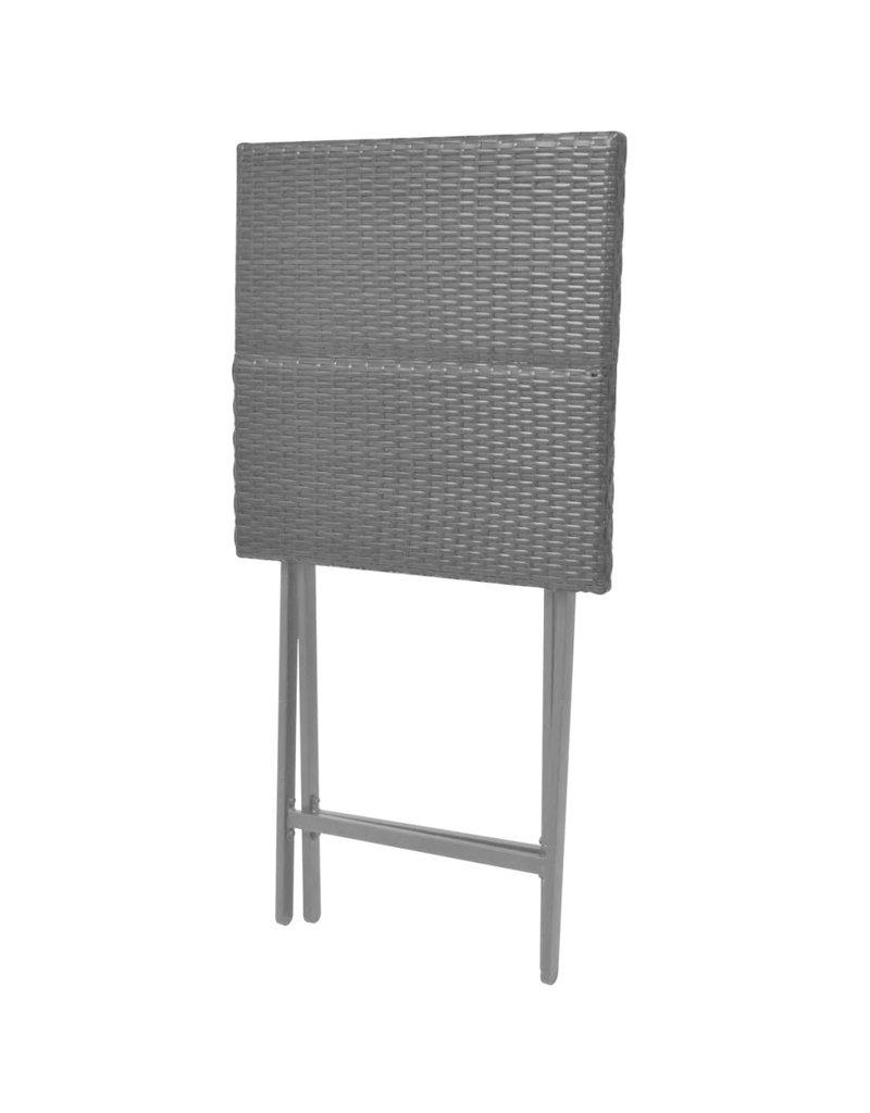 vidaXL 3-delige Bistroset inklapbaar staal poly rattan zwart