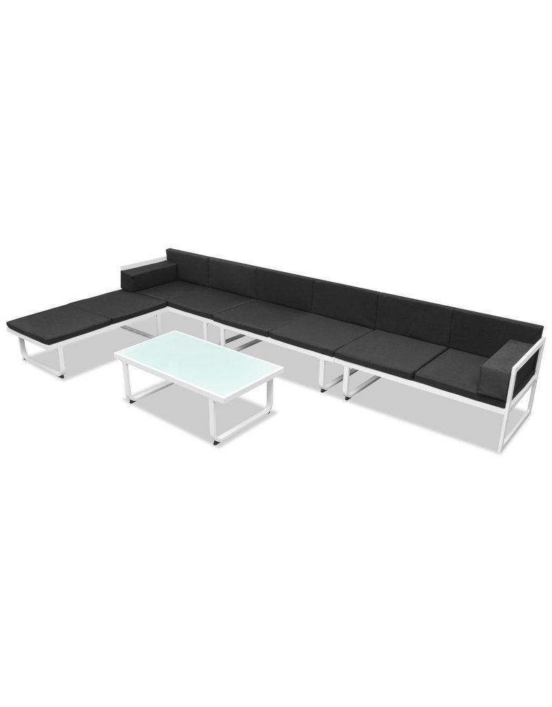 vidaXL 5-delige Loungeset textileen aluminium zwart