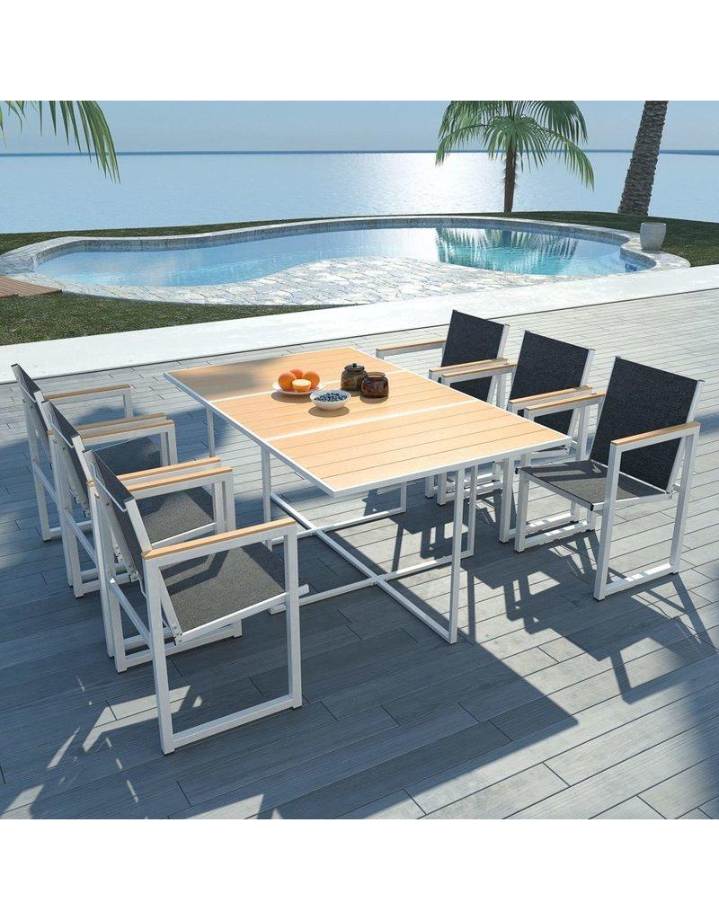 vidaXL 7-delige Tuinset met HKC tafelblad aluminium