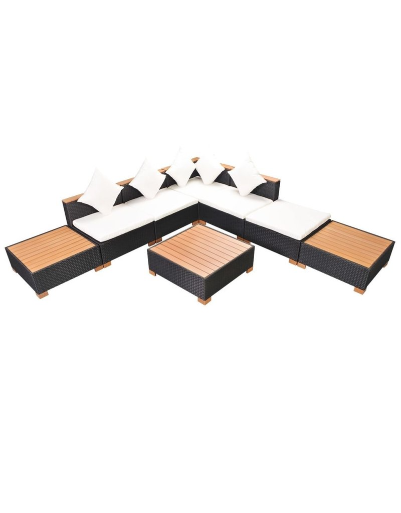 vidaXL 8-delige Loungeset met kussens poly rattan zwart