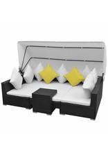 vidaXL 7-delige Loungeset met luifel poly rattan zwart