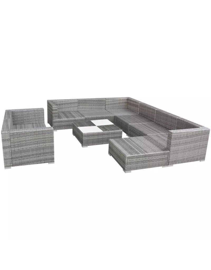 vidaXL 10-delige Loungeset met kussens poly rattan grijs