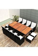 vidaXL 13-delige Tuinset poly rattan en acaciahout zwart
