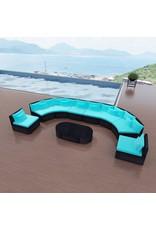 vidaXL 11-delige Loungeset met kussens poly rattan blauw