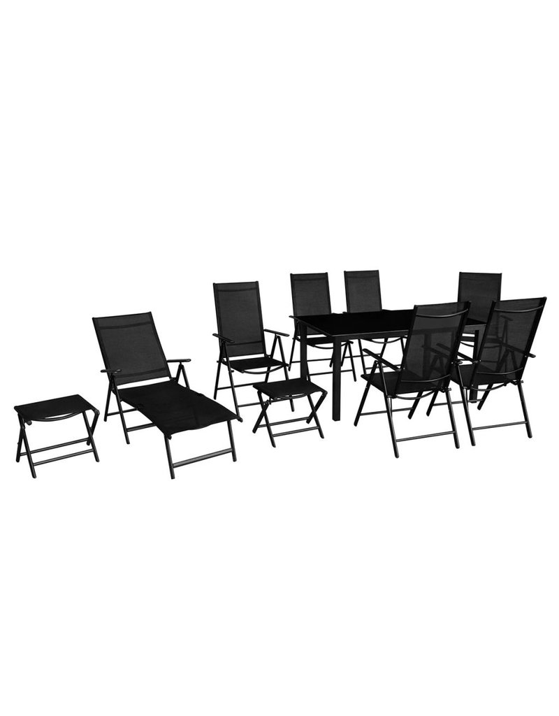 vidaXL 10-delige Tuinset aluminium zwart