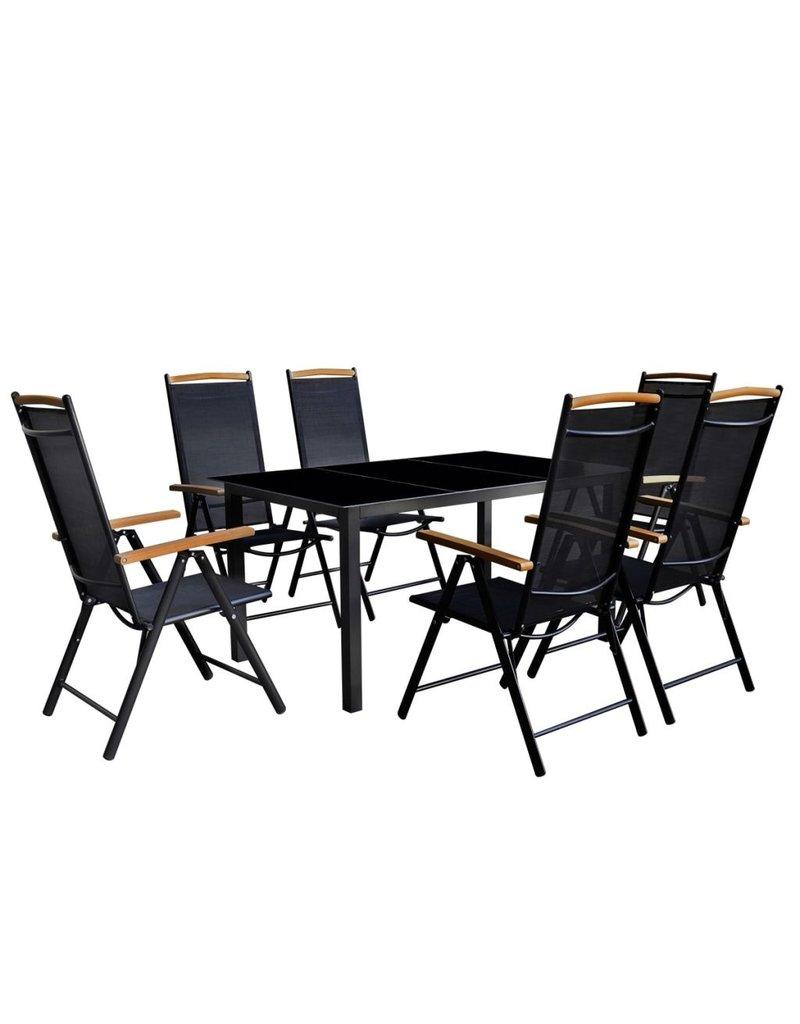 vidaXL 7-delige Tuinset met klapstoelen aluminium zwart