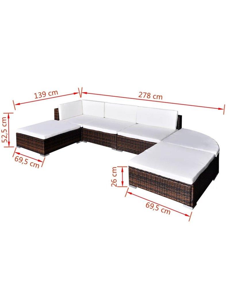 vidaXL 6-delige Loungeset met kussens poly rattan bruin