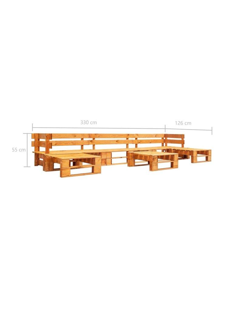 vidaXL 6-delige Loungeset pallet hout honingbruin