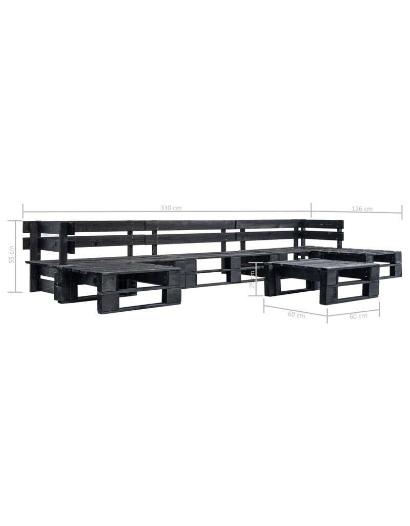 vidaXL 6-delige Loungeset pallet hout zwart