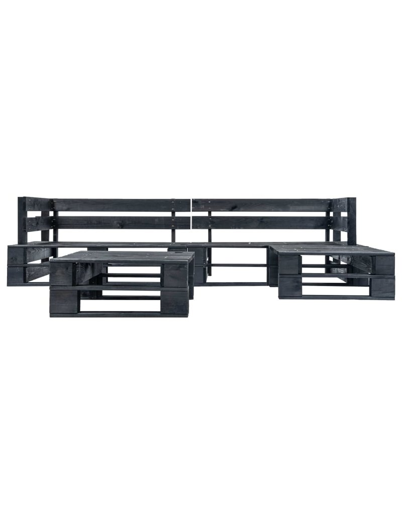 vidaXL 4-delige Loungeset pallet hout zwart