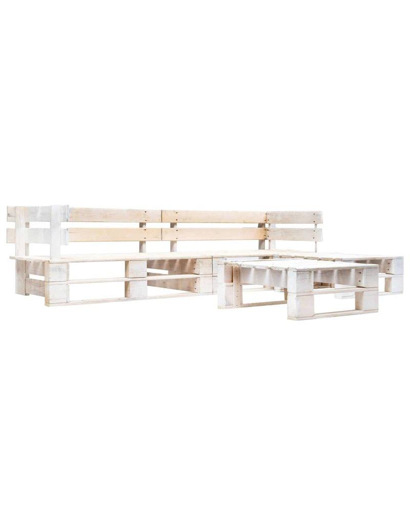 vidaXL 4-delige Loungeset pallet hout wit